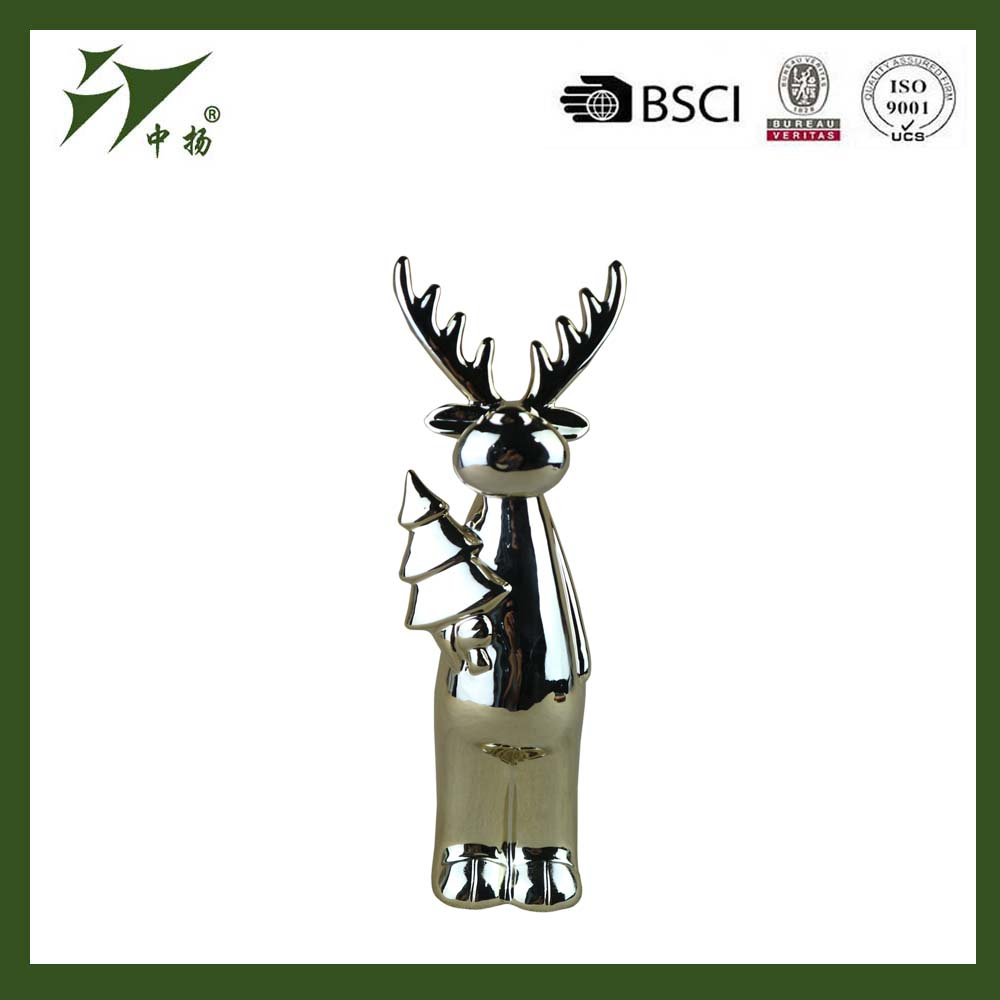 Indoor door ceramic reindeer Christmas decoration